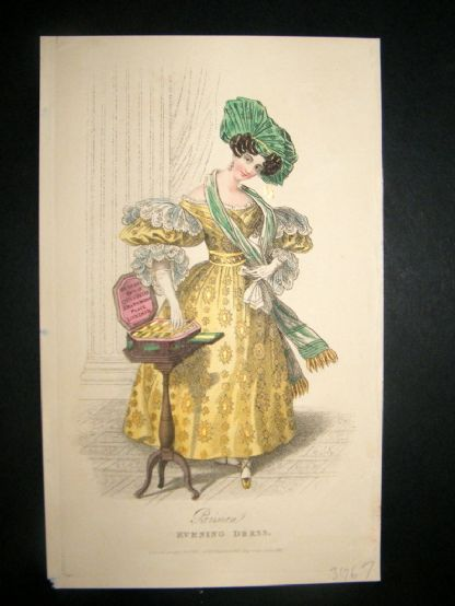 Lady's Magazine C1830 HC Fashion. Parisian Evening Dress 72. Heightened w/Gold | Albion Prints